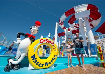 The family-friendly Dr. Seuss WaterWorks Park, aboard Carnival Horizon, offers two lengthy slides and other water-based attractions for guests. Photo by Andy Newman/Carnival Cruise Line
