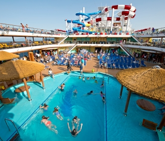 Young cruisers enjoy the Carnival Hotizon's main Lido Deck pool. Photo by Andy Newman/Carnival Cruise Line