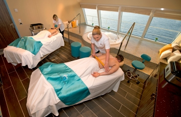 People aboard the Carnival Horizon enjoy a couples' massage in the ship's Cloud 9 Spa. Photo by Andy Newman/Carnival Cruise Line