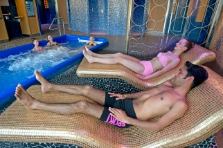 People aboard the Carnival Horizon enjoy the thermal suite including whirlpools in the ship's Cloud 9 Spa. Photo by Andy Newman/Carnival Cruise Line