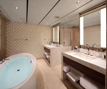 Pinnacle Suite - Bathroom - Room #7053 Midship Starboard Nieuw Statendam - Holland America Line
